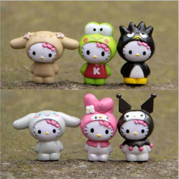 6pcs/set hello kitty Home Decoration Mini Toys Handicrafts Miniatures Colorful  Action Figures Collection Model Toys