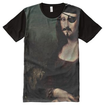 Mona Lisa Pirate Captain With a Mustache All-Over Print T-shirt