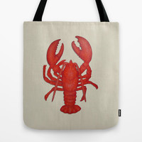 Lobster tote bag, beach tote, washable tote bag, nautical tote, book bag, lunch bag, beach bag, grocery bag, large tote, orange tote