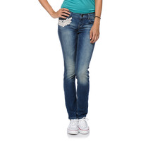 Empyre Girls Crochet Baltic Blue Skinny Jeans at Zumiez : PDP