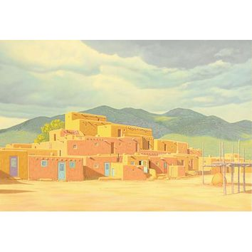 Approaching Storm Over Taos Pueblos - Limited Edition Serigraph on Paper by Lorna Patrick