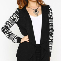 Contrast Sleeve Cardigan - Black