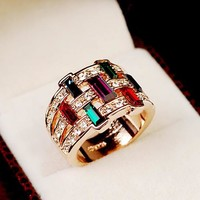 Multi Color Cubic Zirconia Crystal Chunky Rose Gold Rings