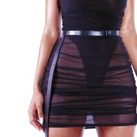 LIQUE Strapped Sheer Mini in Black ( Pre-Order For 20th )