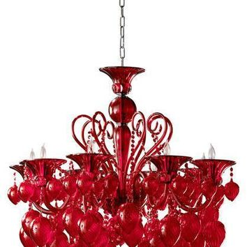 Bella Vetro Murano Glass 8 Light Chandelier | Red