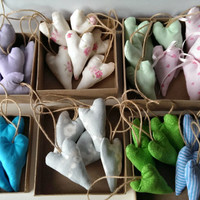 Mix and Match Fabric Stuffed Valentine's Day Hearts. Hanging Hearts on a Jute Natural Rope. Baby Shower, Mother's Day, Gift for Him / Her
