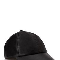 Faux Leather Baseball Cap Black One