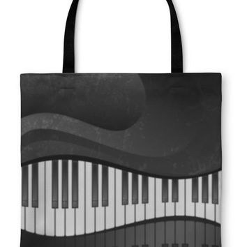 Tote Bag, Grunge Abstract With Piano Keys