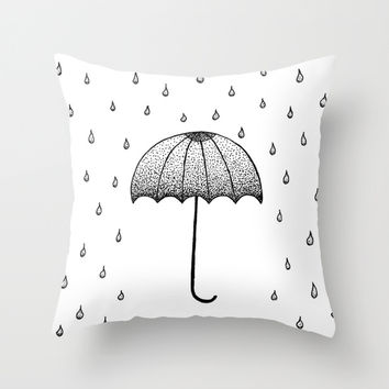 In The Rain Throw Pillow by Cinema4design