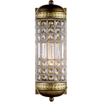 """Olivia 5"""" W Wall Sconce, French Gold Finish, Clear Crystal, Royal Cut"""