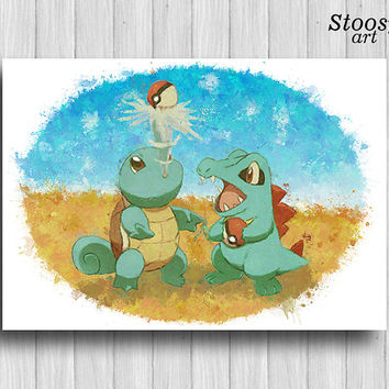 Squirtle and Totodile poster pokemon wall art anime
