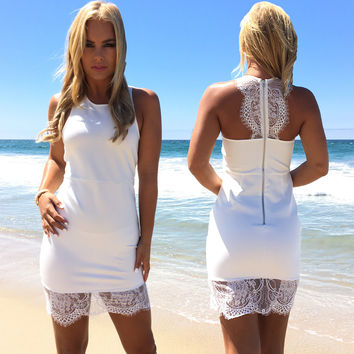 Pure Connection Bodycon Dress In White