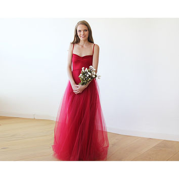 Burgundy maxi ballerina tulle dress