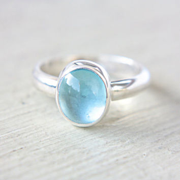 Sky Blue Topaz Ring Engagement Ring Sterling Silver Turquoise Blue Topaz Gem Ring Natural Topaz Ring Size 9 Engagement Promise Ring