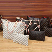 LV shopping leather hot Handbag Shoulder and bag purse wallet a set two-piece