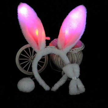 Light Flashing LED Plush Fluffy Bunny Rabbit Ears Headband Tail Tie Costume accessory   Cosplay Woman Girl   Halloween Christmas