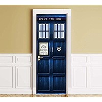 "Sticker for Door / Wall / Fridge - Policebox. Peel & Stick Removable Mural, Decole, Skin, Wrap, Decal, Cover, Poster. All sizes (32""x80"")"