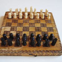 Vintage Bulgarian wooden pyrography  travel CHESS. Set with a original box. Pocket chess. Vintage game chess. Chess game. Miniature chess