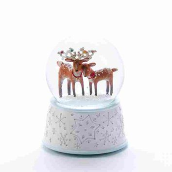 Reindeer Couple Holiday Snow Globe