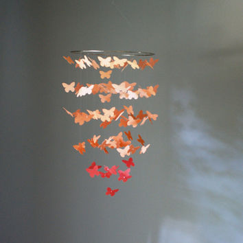 Medium Coral Ombre Butterfly Swarm Chandelier
