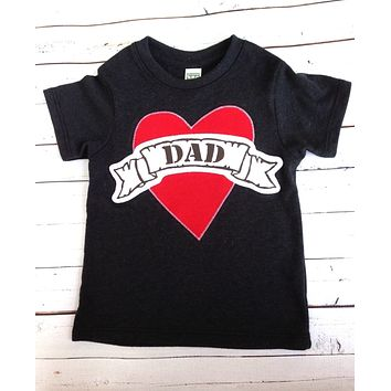 Black Tattoo Heart Valentine's Day Fathers Day Heart Dad LOVE for Father this T Shirt is for Father's Day