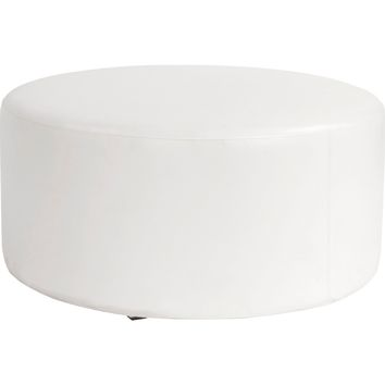 "Indoor/Outdoor Fabric Atlantis White Universal 36"" Round Ottoman Cover"