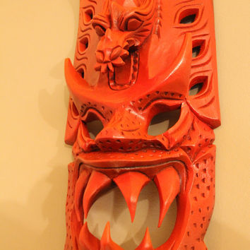 Retro Red Oranges Tribal Fire God Tiki Mask