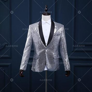 silver blazer wedding groom jacket outwear male clothes singer dancer perforamance sequin dress prom ds party show bar nightclub