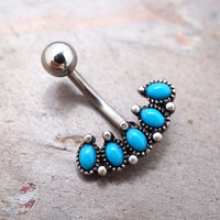 Oval Turquoise Belly Button Ring