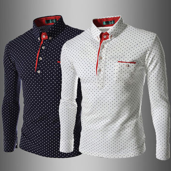 Mens Polka Dot Long Sleeve Polo