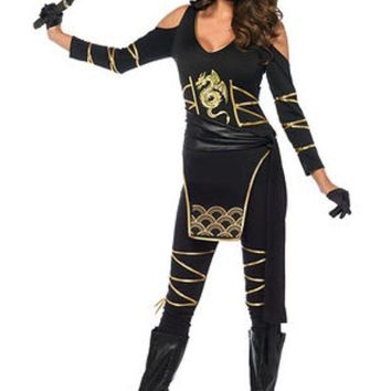 3pc.stealth Ninjahooded Catsuitwaist Sashand Face Mask In Black/gold
