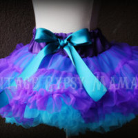 FREE SHIP Peacock Purple and Turquoise Ultra Premium Fluffy Pettiskirt Tutu 2T 3T 4T 5T Girls 6 7 8 Birthday Party Wedding Flower Girl