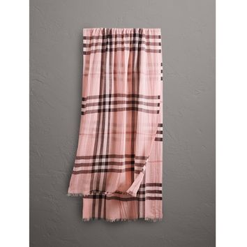 Burberry Lightweight Check Wool and Silk Scarf Pink rrp £275 LF170 DD 09