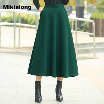 Mikialong Thick Warm Long Wool Skirt Winter 2017 Women Vintage A Line Skater Midi Skirt Pocket Hight Waist Faldas Jupe Femme