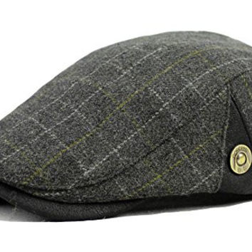 Qunson Mens Classic Ivy Plaid Newsboy Cabbie Hat Cap Tweed