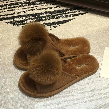 UGG Women Fashion Fur Flats Shoes