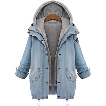 Women Casual Jean Jacket Two Piece Set Denim Jacket Hooded Plus Size Oversized Casual Women Coat Outwear
