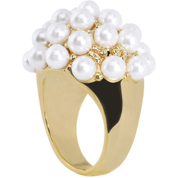 Size 6 -Goldtone Faux Pearl Cluster Ring