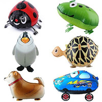 Signstek 6pcs Walking Animal Balloons Birthday Party Decor Children Kids Gift - Including Turtle, Frog, Huntaway, Beatles, Penguin, Car