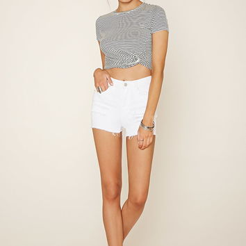 Twist-Front Striped Crop Top