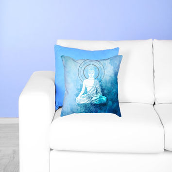 Blue Buddha Meditation Pillow -  Buddhist Watercolor Mandala Throw Pillow - Bohemian Decor Gift - yoga studio bedroom sofa accent gift