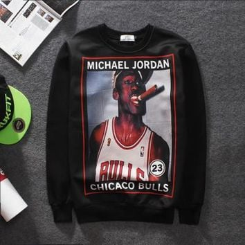 Aolamegs Micheal Jordan Inspired Cartoon Sweatshirt