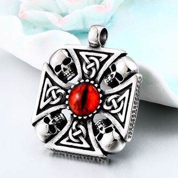 BEIER Vintage Cross Skull with Claw Evil Red Eye Necklace Pendant For Men 316 Stainless Steel Viking jewelry Punk Style BP8-345