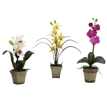 Artificial Flowers -Potted Orchid Mix -Set Of 3 Arrangement Silk Flowers