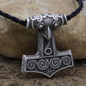 ac NOOW2 Viking Norse Odin Thors Mjolnir Hammer Mens Pendant Necklace for Man