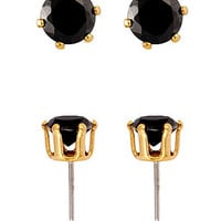 American Apparel - 18Kt Gold Plated Earring Pair - Round Black CZ 6mm