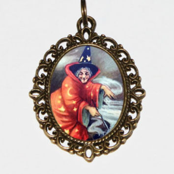 Witch Necklace, Halloween Jewelry, Wiccan, Witchcraft, Cauldron, Bronze Oval Pendant