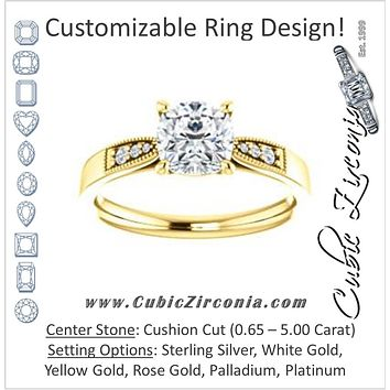 Cubic Zirconia Engagement Ring- The Ruth (Customizable 7-stone Cushion Cut Style with Vintage Filigree)