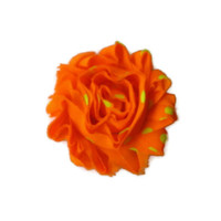 Orange shabby flower, hairclip, chiffon flowers, fluorescent yellow polka dots, spring hairclips, women and girls accessories