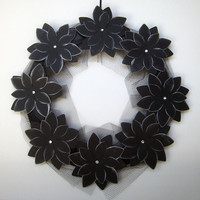 Morticia Halloween Wreath I Paper Flower Black Flowers Halloween Decor